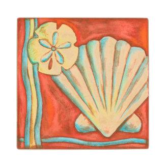 Rustic Orange Seashells Wood Coaster