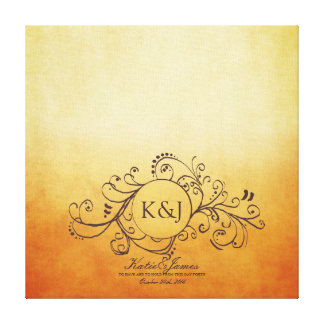Rustic Orange Yellow Bohemian Guest Book Canvas Stretched Canvas Print