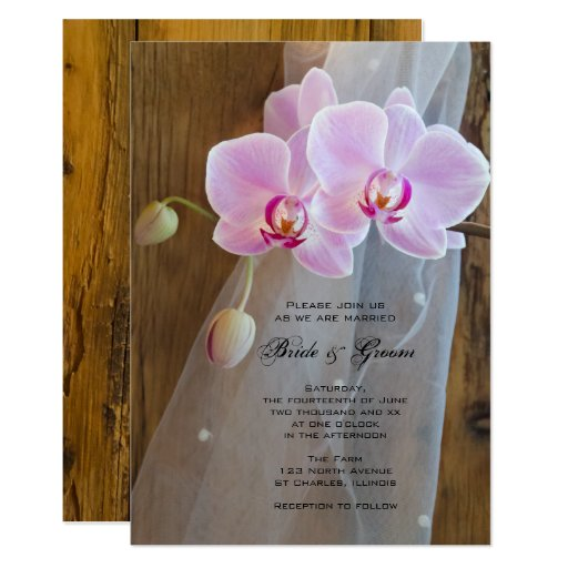 Rustic Orchid Elegance Ranch Wedding Invitation