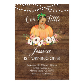 Rustic Our Pumpkin is turning one Invitation