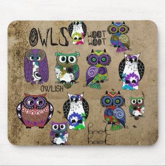 Rustic Owl Design Mouse Mat