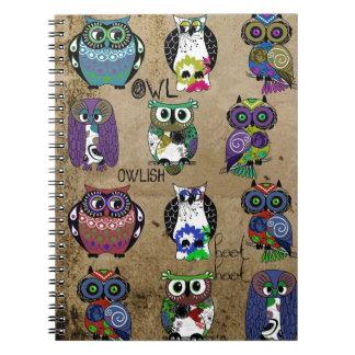 Rustic Owls Folk Art Notebook