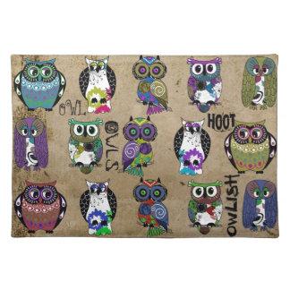 Rustic Owls Folk Art Placemat