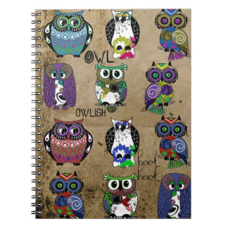 Rustic Owls Folk Art Spiral Notebook