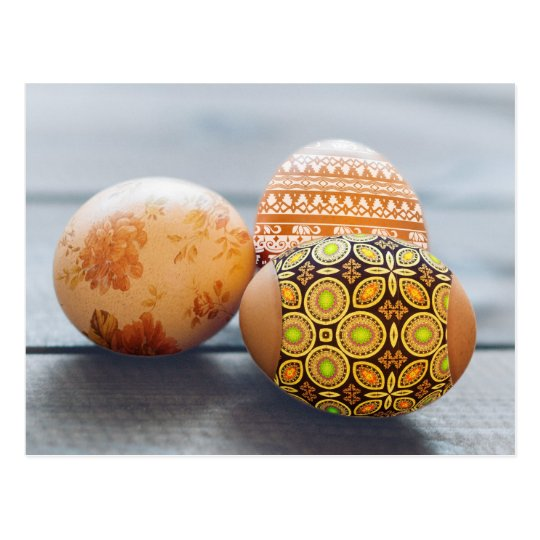 Rustic Painted Easter eggs Postcard