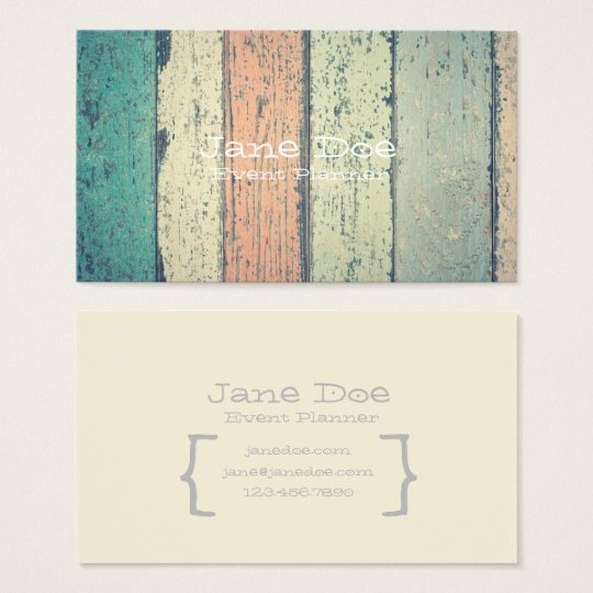 Rustic Painted Wood Business Cards