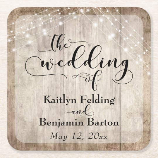 "Rustic Pale Brown Wood & Lights, ""The Wedding"