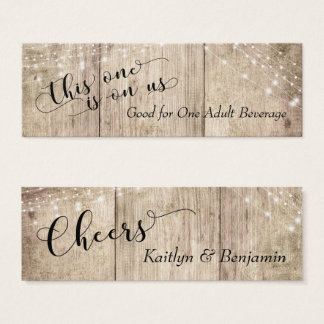 Rustic Pale Brown Wood w/ Lights Drink Tickets 3