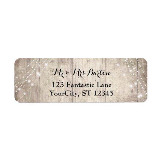 Rustic Pale Brown Wood, White Lights Wedding 2 Return Address Label