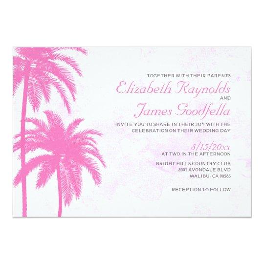 Rustic Palm Tree Beach Wedding Invitations