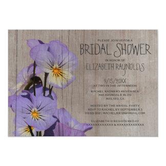 Rustic Pansies Bridal Shower Invitations