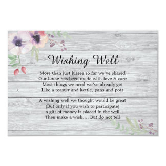 Rustic Pastel Poppies Wishing Well Wedding Card