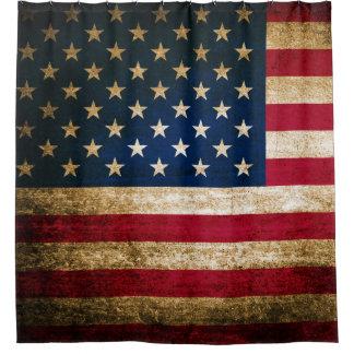 Rustic Patriotic American Flag USA Shower Curtain