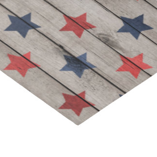 Rustic Patriotic faux wood stars party tissue Tissue Paper