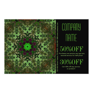 rustic pattern abstract business green damask 14 cm x 21.5 cm flyer