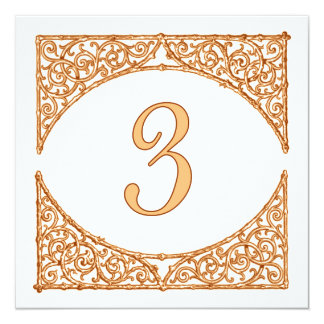 Rustic Peach & Brown Wood Screen Table Number 3 13 Cm X 13 Cm Square Invitation Card