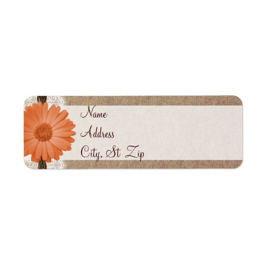Rustic Peach Daisy Flower Return Address Labels