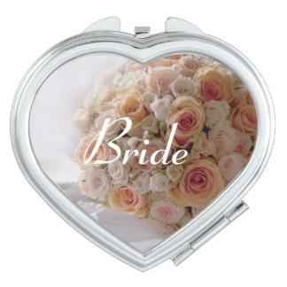 Rustic Peach Rose White Bride Wedding Gift Vanity Mirror
