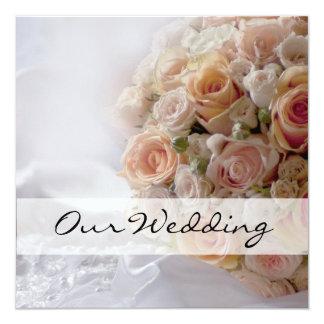 Rustic Peach Rose White Wedding Card