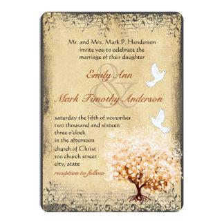 Rustic Peach Tree Dove Love Bird Weddings Card