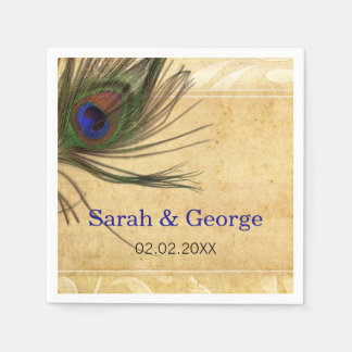 Rustic Peacock Feather personalized napkins Disposable Serviette