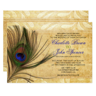Rustic Peacock Feather wedding invitations