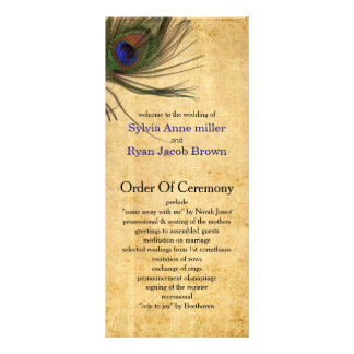 Rustic Peacock Feather wedding programs Rack Card