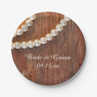 Rustic Pearls and Barn Wood Country Wedding Paper Plate