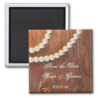 Rustic Pearls Country Wedding Save the Date Magnet