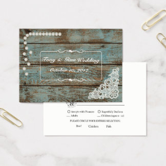 Rustic Pearls & Lace Wedding RSVP Card