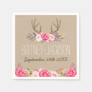 Rustic Peony and Deer Antler Wedding Napkins Paper Napkins