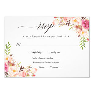 Rustic Peony Floral Wedding RSVP/with meal-02 Invitation