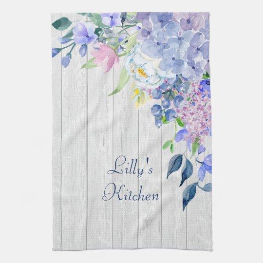 Rustic Personalised Watercolor Purple Hydrangeas Tea Towel