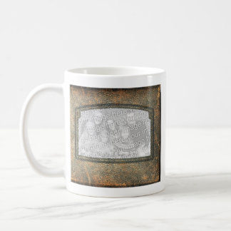Rustic Personalized Add a Photo Leather Frames Coffee Mug