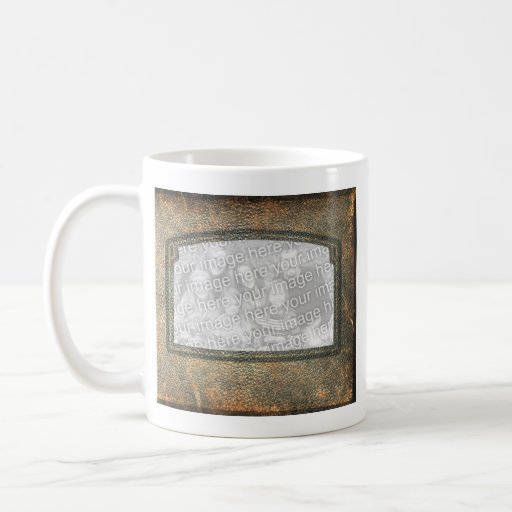 Rustic Personalized Add a Photo Leather Frames Mug