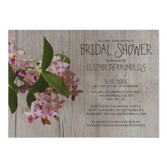 Rustic Phalaenopsis Orchid Bridal Shower Invites