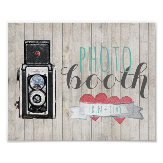 Rustic Photo Booth Vintage Camera Wedding Poster