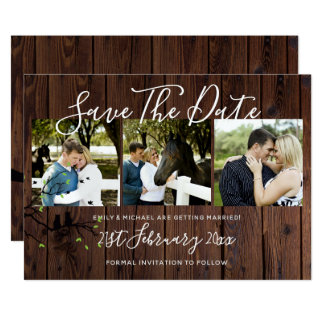 Rustic PHOTO Collage Save The Date Wedding Card