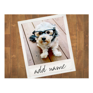Rustic Photo Frame with Square Instagram and Wood Postcard