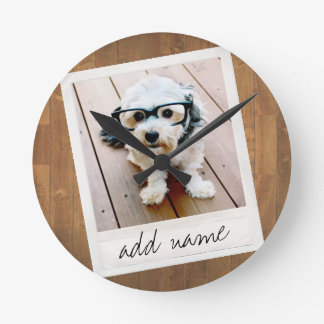 Rustic Photo Frame with Square Instagram and Wood Wall Clocks