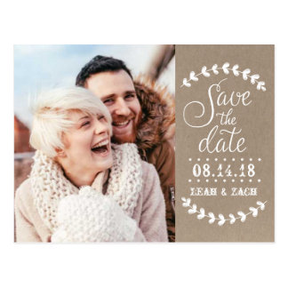 Rustic Photo Save the Date Postcard