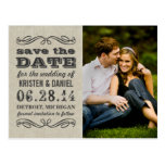Rustic Photo Save the Dates | Vintage Poster Style Postcard