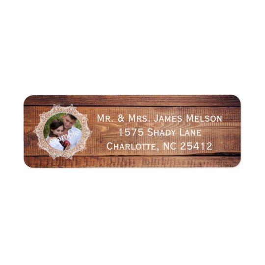 Rustic Photo Wood and Lace Return Address