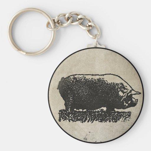 Rustic Pig Etching Key Chain
