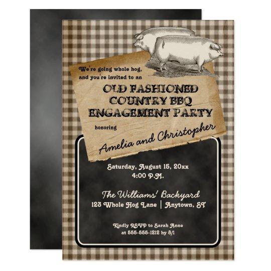Rustic Pig Roast Backyard BBQ Engagement Party Card