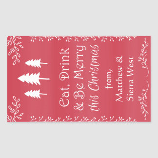 Rustic Pine Christmas Holiday Wine Gift Tag Label Rectangular Sticker