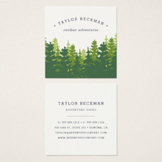 Rustic Pine Forest Square Business Card