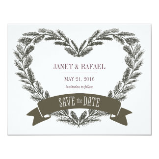 Rustic Pine Heart Save the Date Card