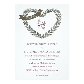Rustic Pine Heart Wedding Invitation