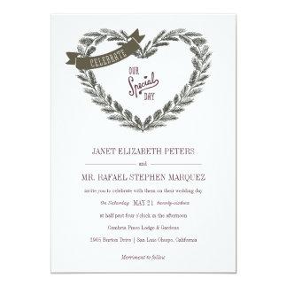 Rustic Pine Heart Wedding Invitation